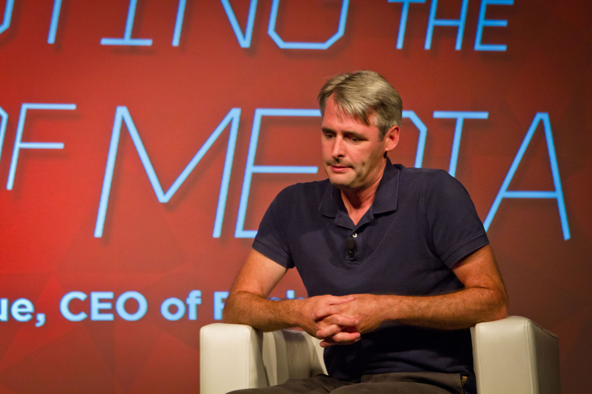 Flipboard CEO Mike McCue ponders the future of media on stage while at a ReadWriteMix event in August 2014.