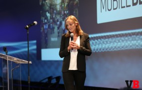 Photo of Anne-Sophie Liduena, VP of Product, Booking.com, speaking at MobileBeat 2016