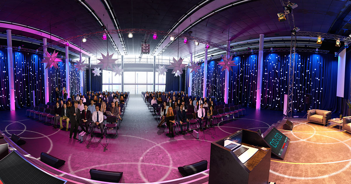 360 video Conference Hall simulation by VirtualSpeech