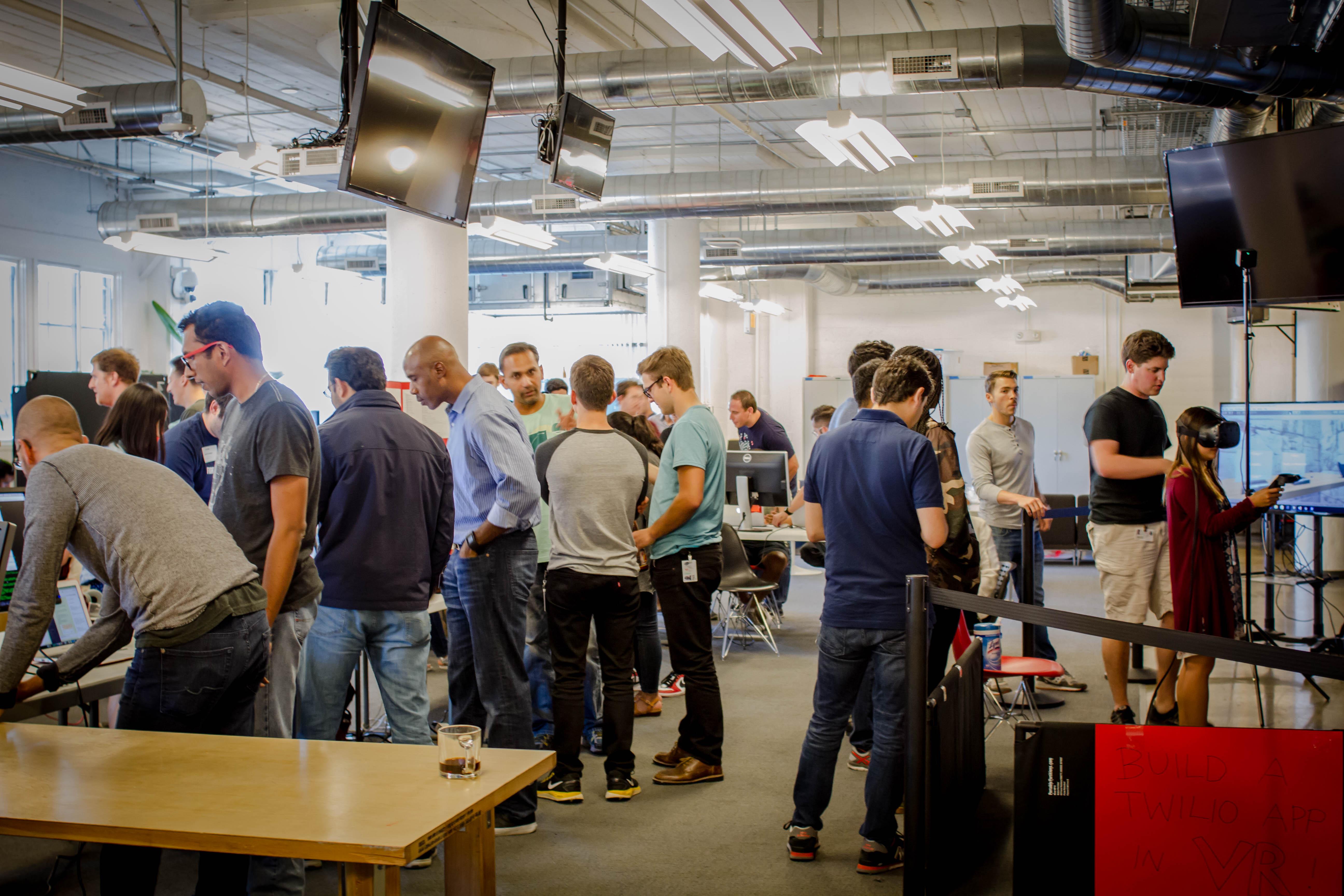 Scenes from Twilio's Tweek hackathon on July 22, 2016.