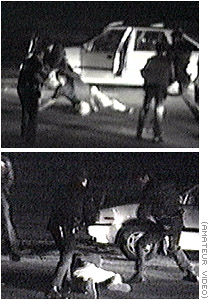 These are Stills from George Holliday's video of the Rodney King beating.