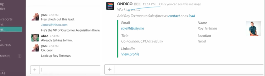 These screenshots show how Ondigo bot helps people create Salesforce contacts without leaving Slack