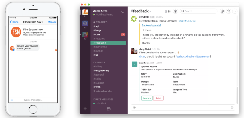 These images are screenshots of the Button.ai bot for Slack.
