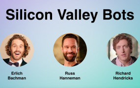 "This image shows three bots based on characters from the HBO show ""Silicon Valley,"" which were created by Luka."