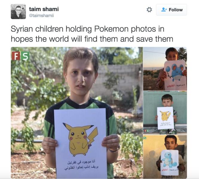 Syrian children holding Pokemon photos