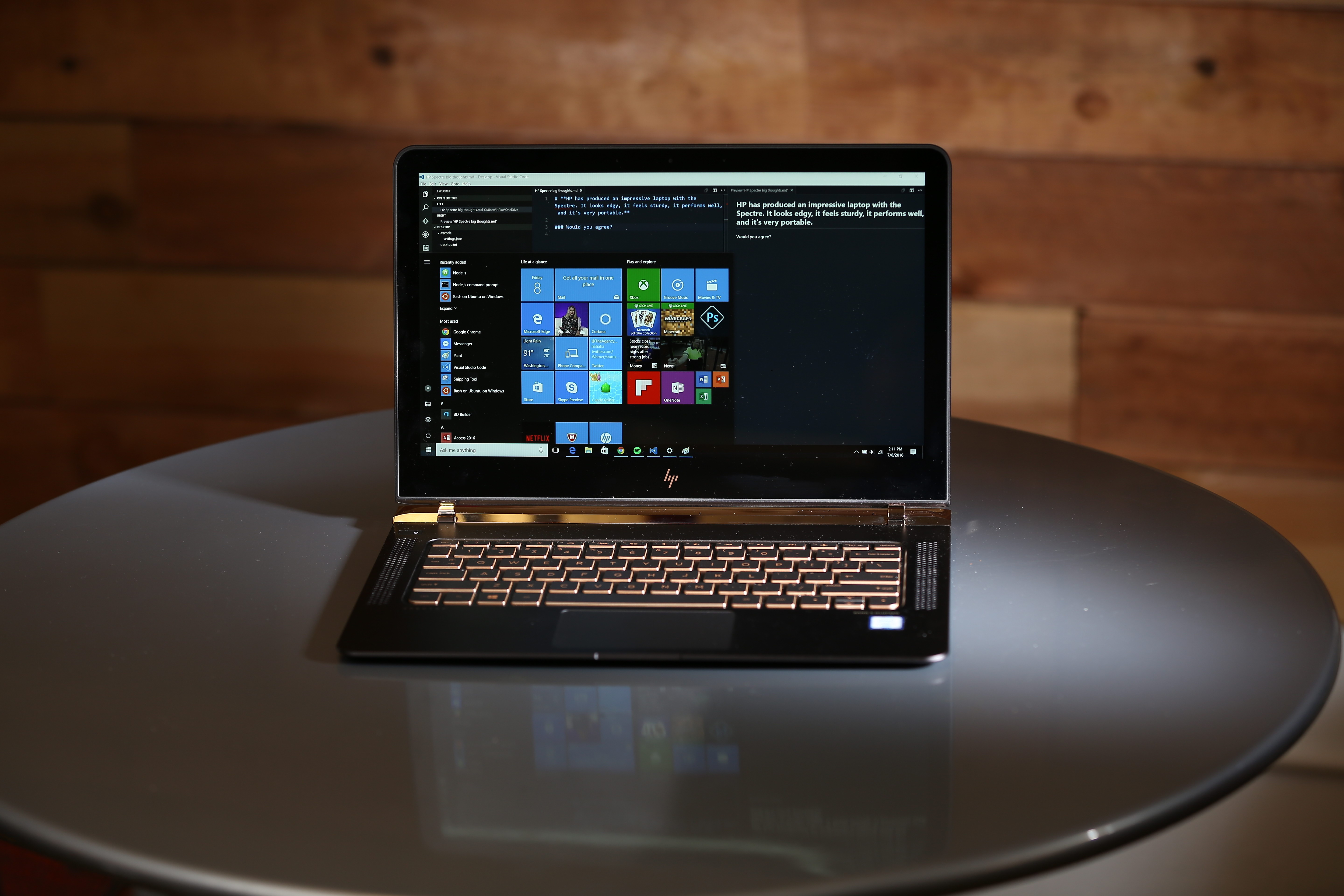 The HP Spectre's battery lasts between two and four hours in my testing.