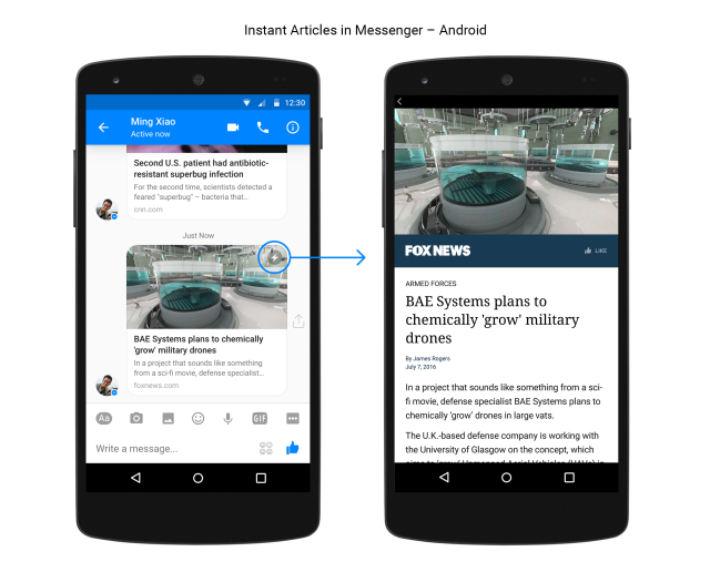 Messenger on Android gets Instant Articles