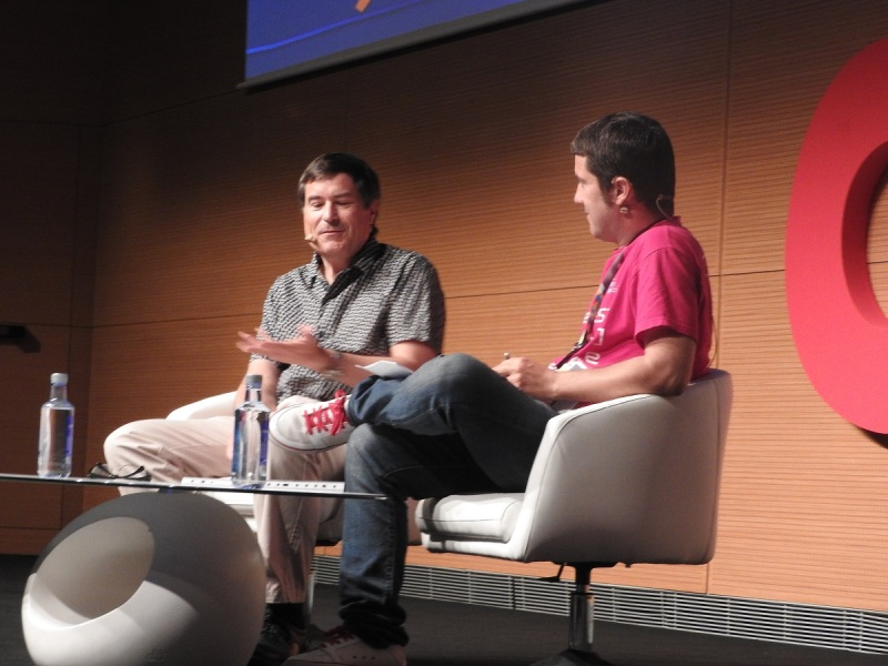 David Braben of Frontier on stage with Oscar Gardia at Gamelab.