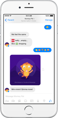 Yahoo MonkeyPet bot on Facebook Messenger