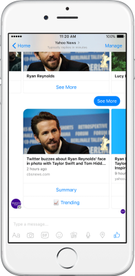 Yahoo News bot on Facebook Messenger.