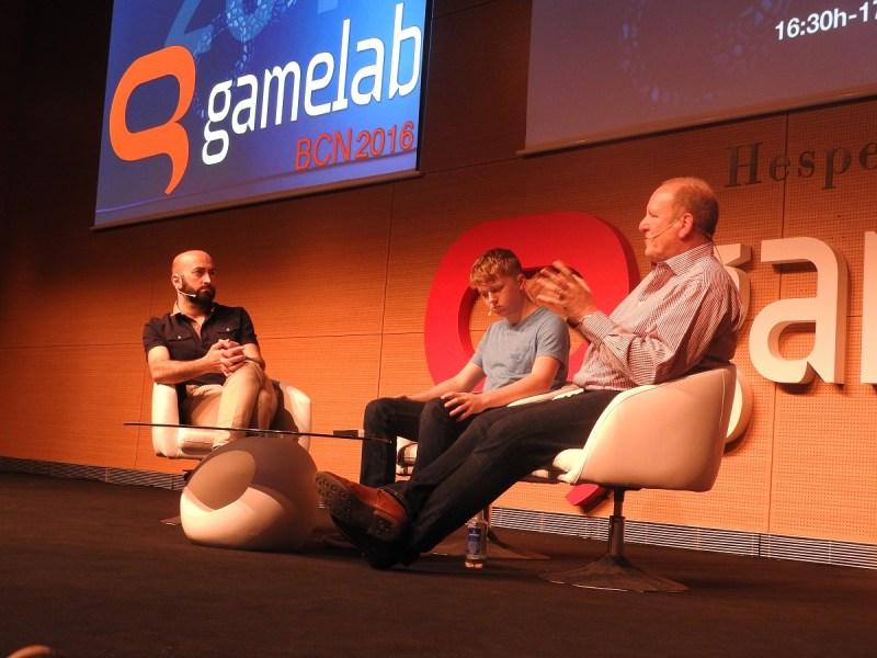 Ivan Fernandez Lobo (left) talks educational games with Jordan Casey and Ian LIvingstone at Gamelab.