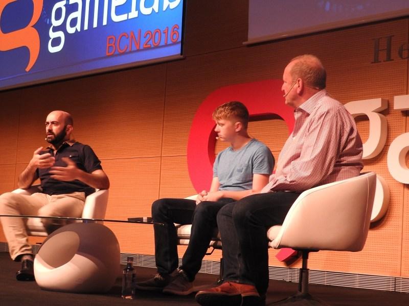 Ivan Fernandez Lobo (left) talks about public school education with Jordan Casey and Ian LIvingstone at Gamelab.