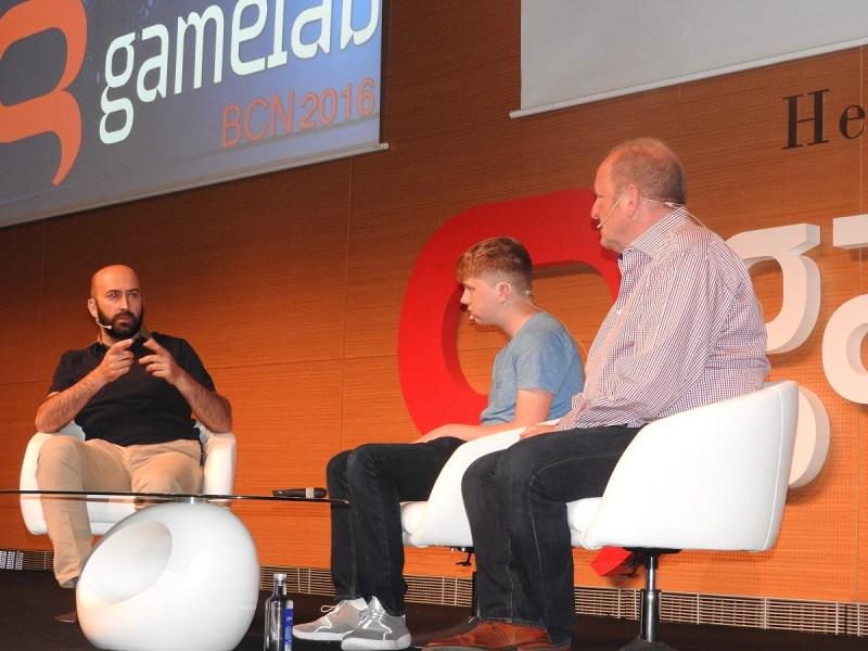 Ivan Fernandez Lobo (left) interviews Jordan Casey and Ian LIvingstone at Gamelab.