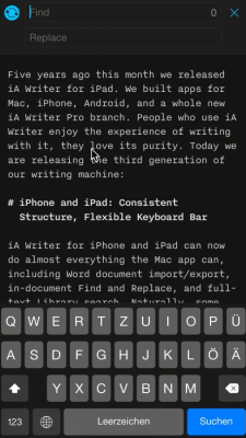 iA Writer's dark theme on iPhone.