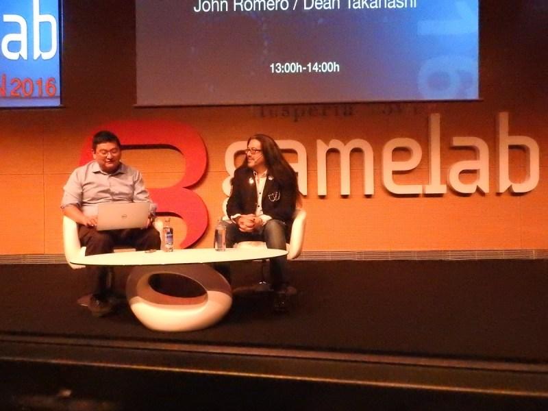 Dean Takahashi (left) of GamesBeat with John Romero at Gamelab 2016.