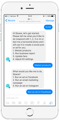Screenshot of Kit's marketing assistant on Facebook Messenger.