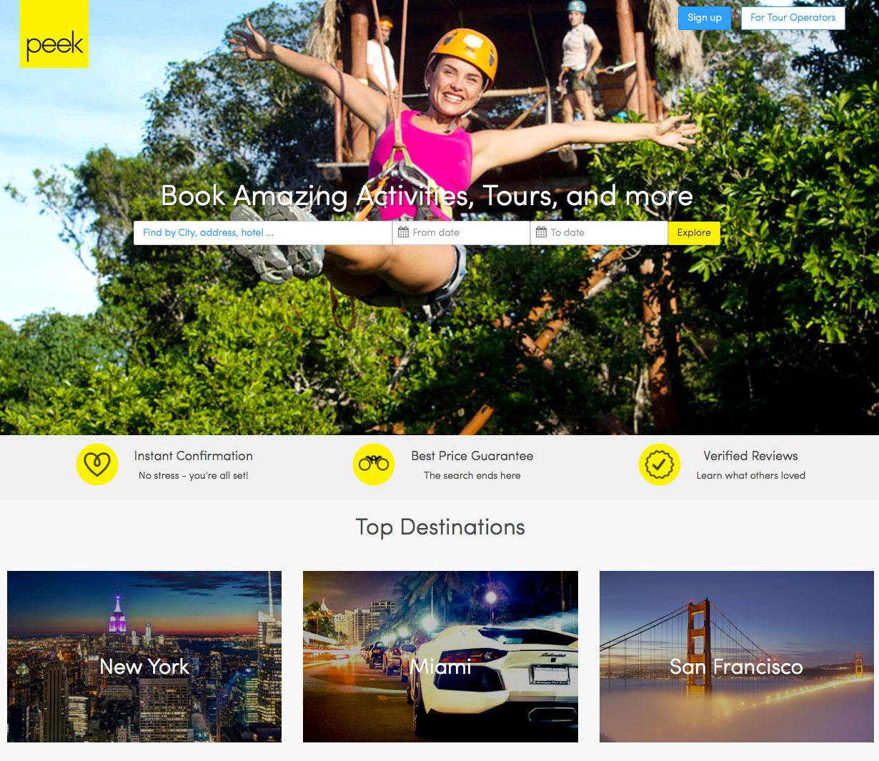 Peek homepage