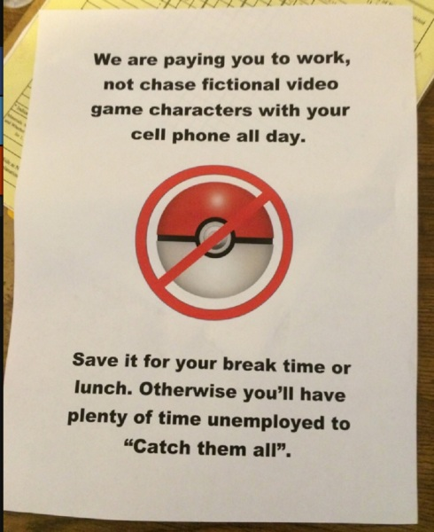 A funny note about playing Pokémon Go at work on Imgur.