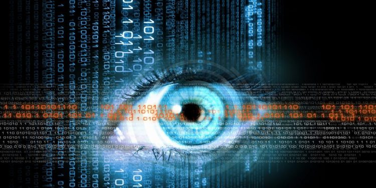 An image of an eye behind a foreground of various cybersecurity terms and code