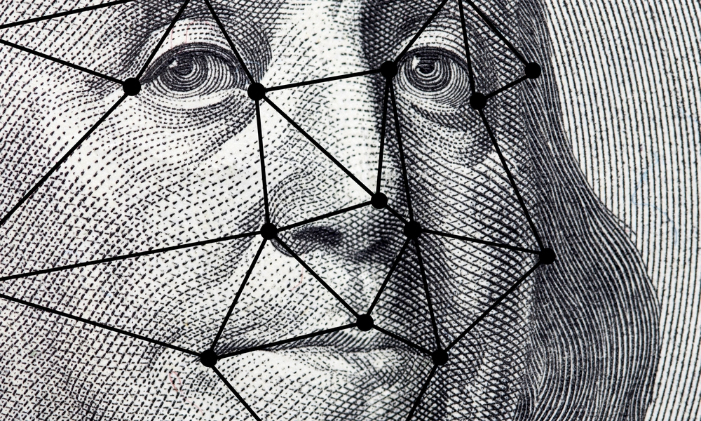 Benjamin Franklin's face from the hundred dollar bill, traced with lines from facial recognition software.