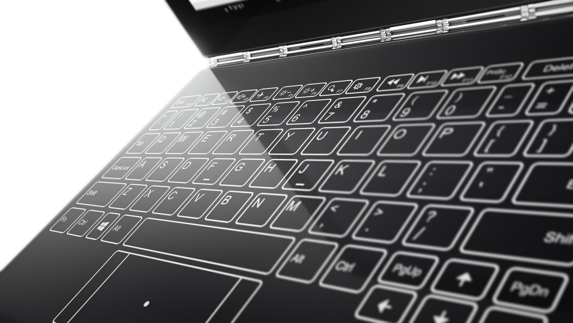 The keyboard of the Lenovo Yoga Book.