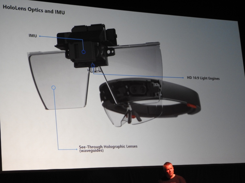 The visor subsystem for the Microsoft HoloLens holographic computer.