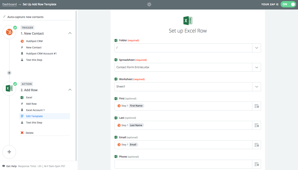 Setting up a workflow with Zapier to automatically capture new HubSpot contacts on an Excel spreadsheet.