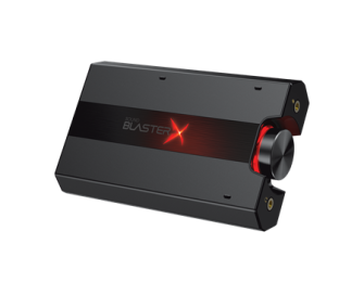 The compact Sound Blaster X portable soundcard with headphone amplifier.