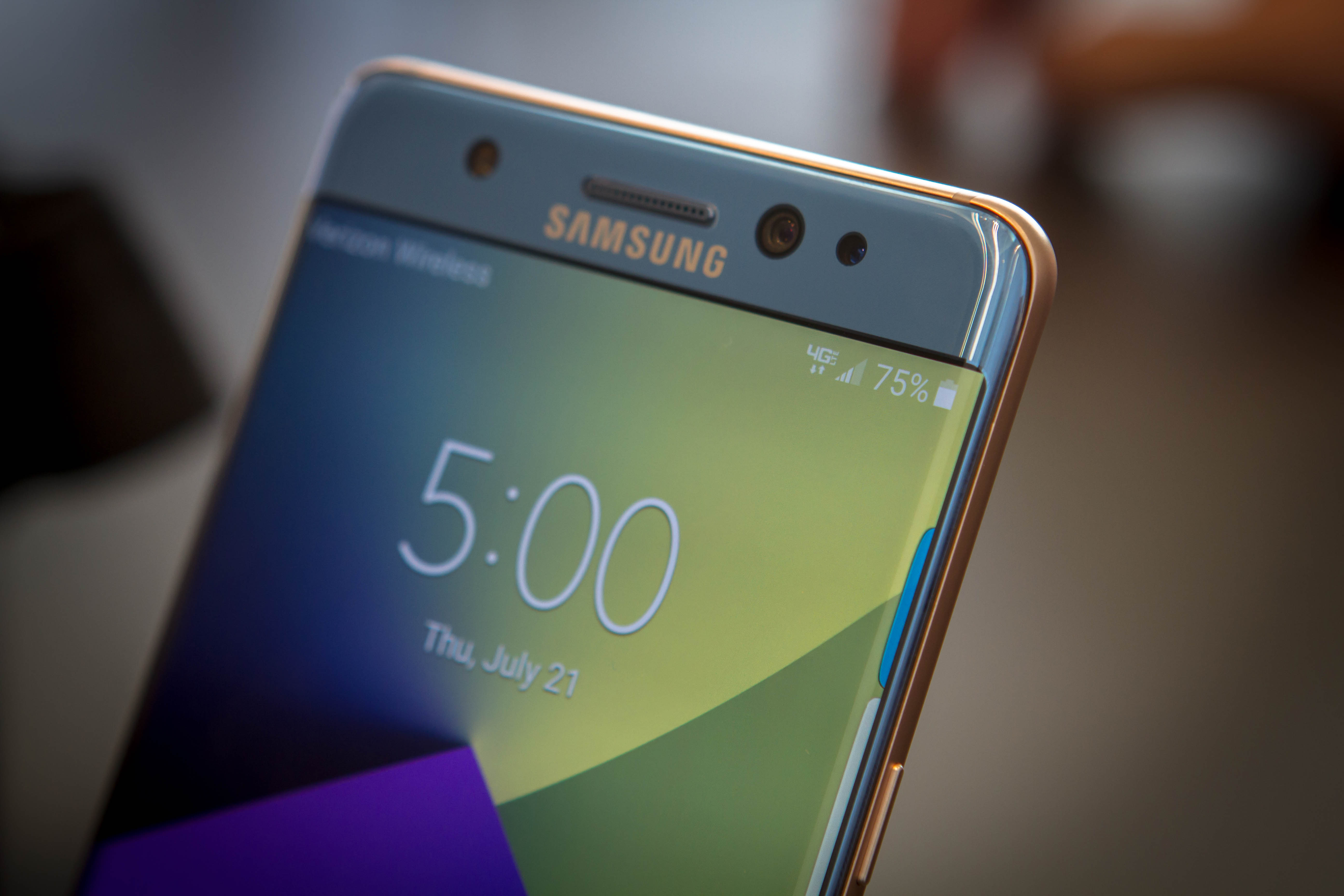 The front of the Samsung Galaxy Note7 smartphone with an extra camera for the iris scanner.
