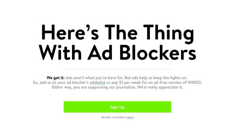 Wired detects ad blocking software