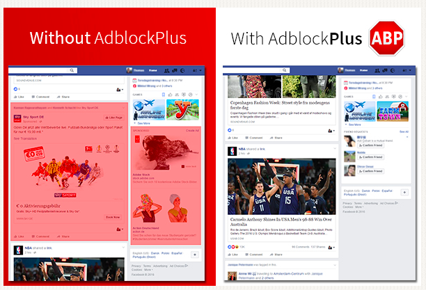Adblock Plus as used on Facebook pages August 11,2016.
