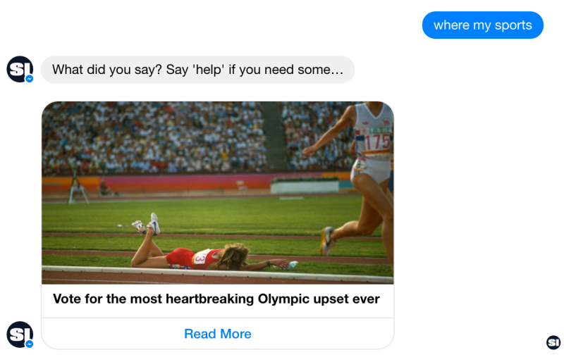Screenshot of the Sports Illustrated bot on Facebook Messenger made by GameOn.