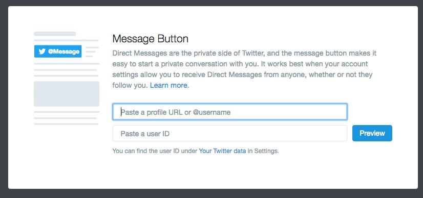 Embedding Twitter Message Buttons