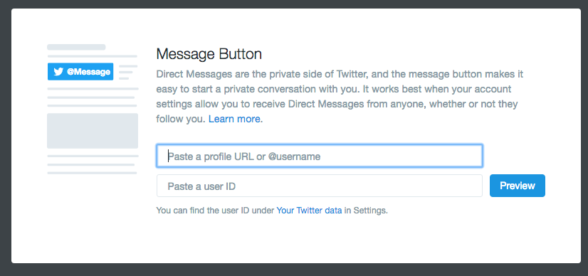 Embedding Twitter Message Buttons