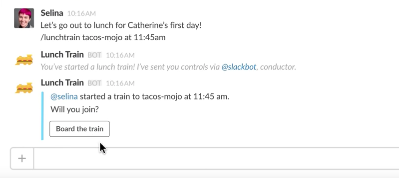 This image shows how Slack's Lunch Train button helps co-workers organize group lunches with one click.