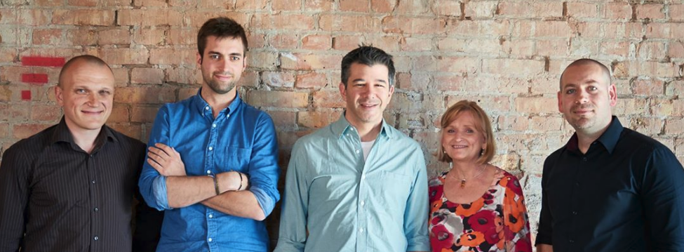 Travis Kalanick (middle) with Florent, Mary, Vedran, and Jakub