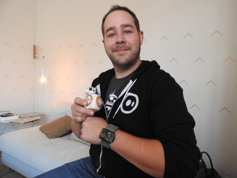 Adam Wilson, cofounder of Sphero, with BB-8 and the Star Wars Force Band.