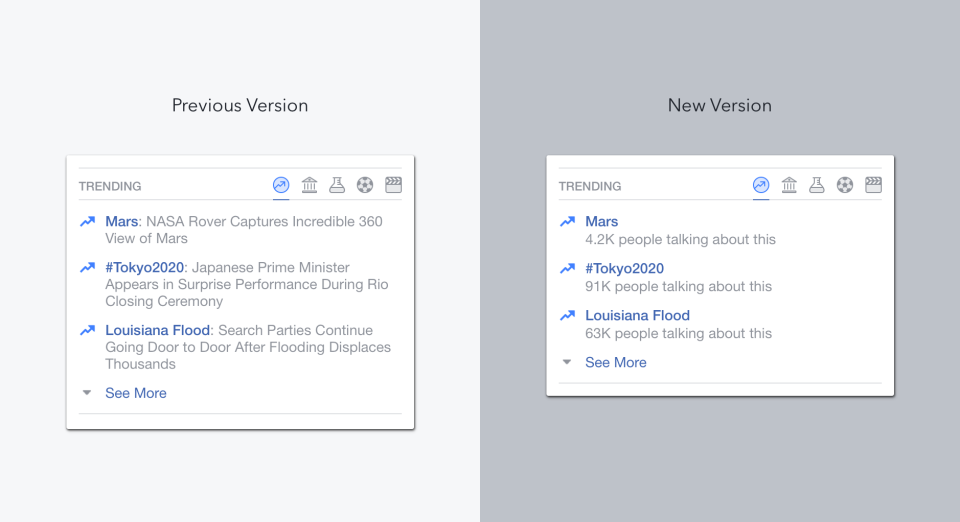 Updated Facebook Trending Topics -- before and after versions.