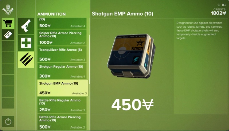 Shotgun EMP ammo can take out a camera or a drone, briefly.
