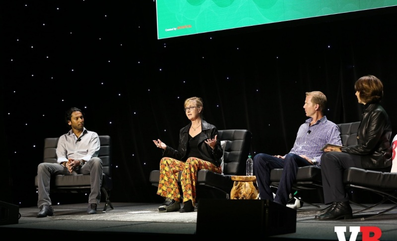 Creativity and diversity panelists (left to right) Ru Weerasuriya of Ready At Dawn Studios, Megan Gaiser of Contagious Creativity, Michael Condrey of Sledgehammer Games, and moderator Nicole Lazzaro of XEO Design.