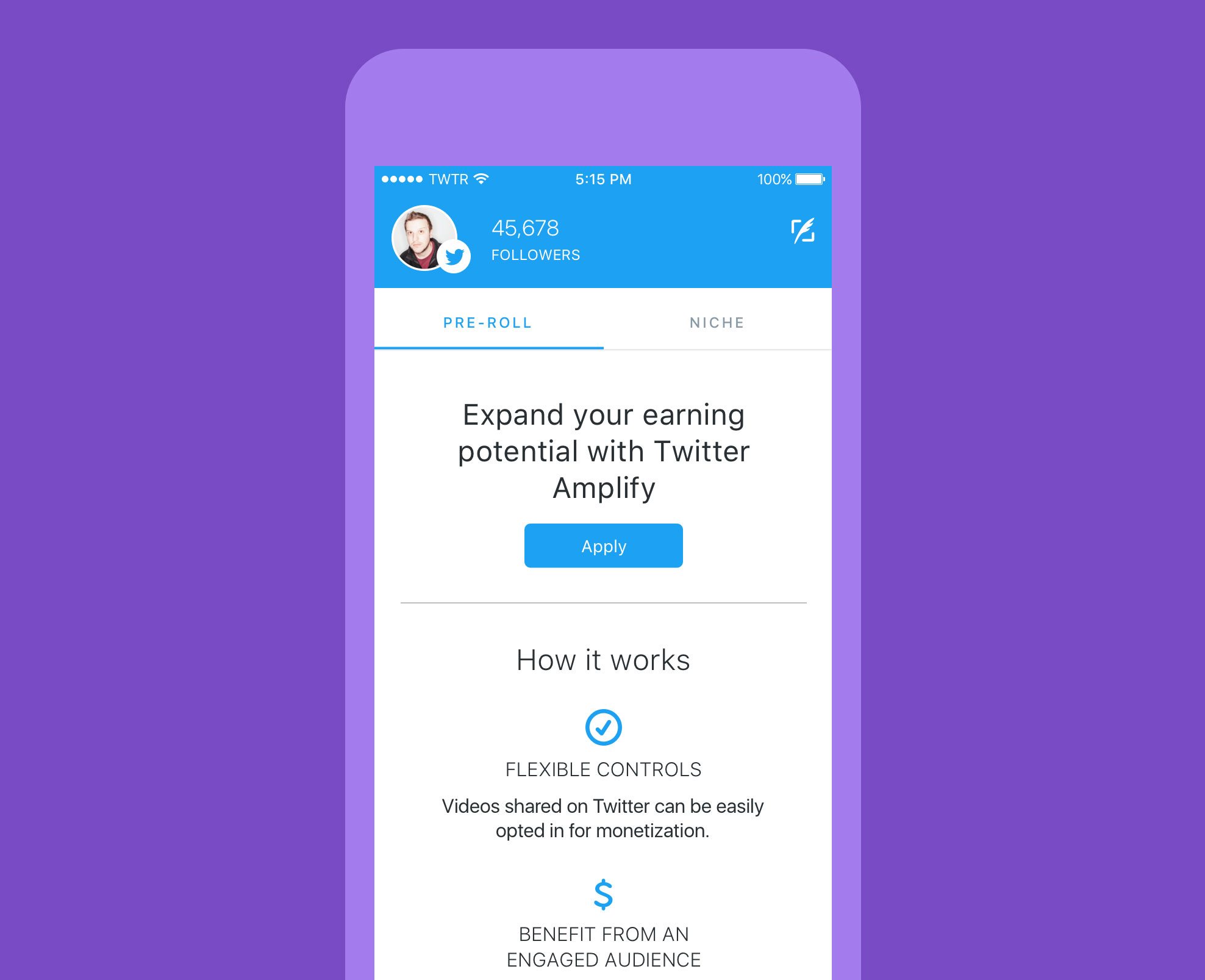 Twitter added an earnings section to its Engage app.
