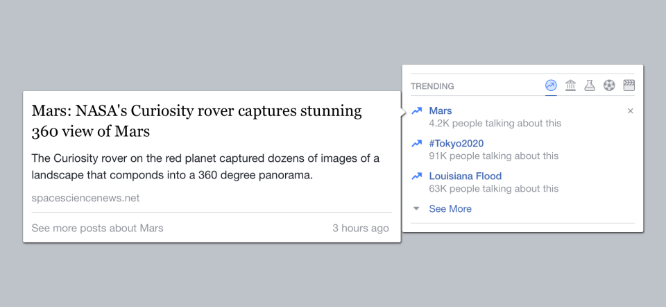 Hovering over Facebook trending topics will display more information about the topic.