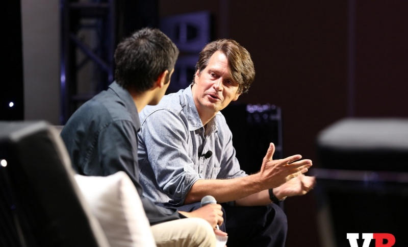 Paresh Dave of the LA Times with John Hanke of Niantic Labs at GamesBeat 2016.
