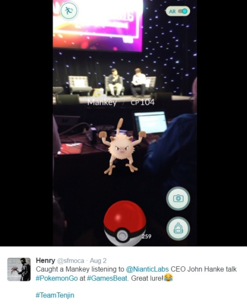 A Mankey appeared during John Hanke's talk at GamesBeat 2016.