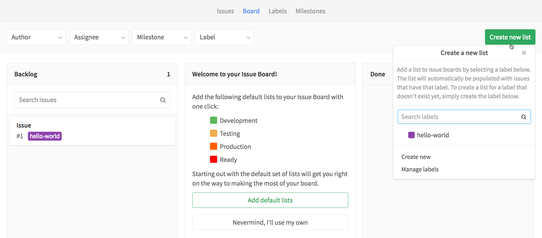For teams who are just adopting GitLab or what to standardize their process, the Issue Board also offers default Lists that can be used to create an Issue Board in one click.