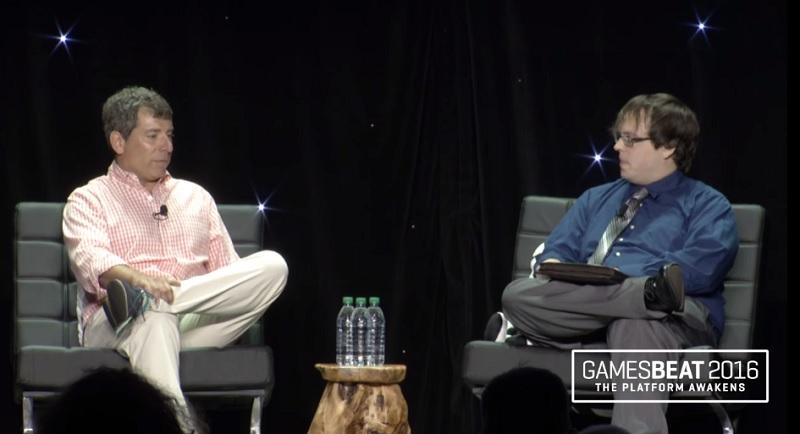 Peter Levin of Lionsgate (left) and David Jagneaux of UploadVR at GamesBeat 2016.