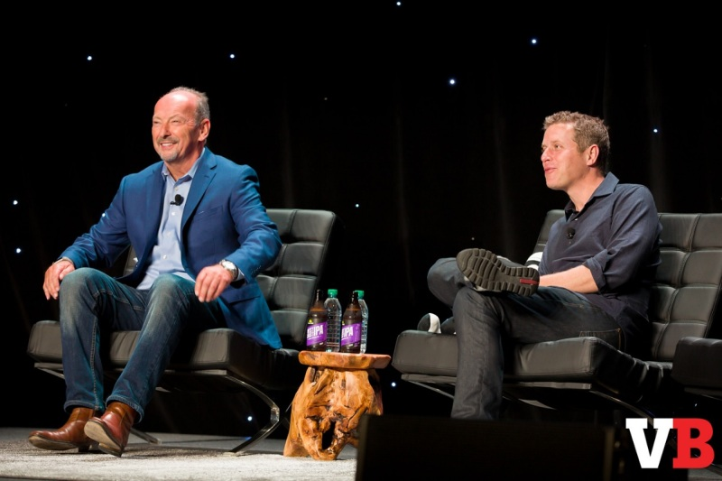 Peter Moore of EA and Geoff Keighley of the Game Awards at GamesBeat 2016.