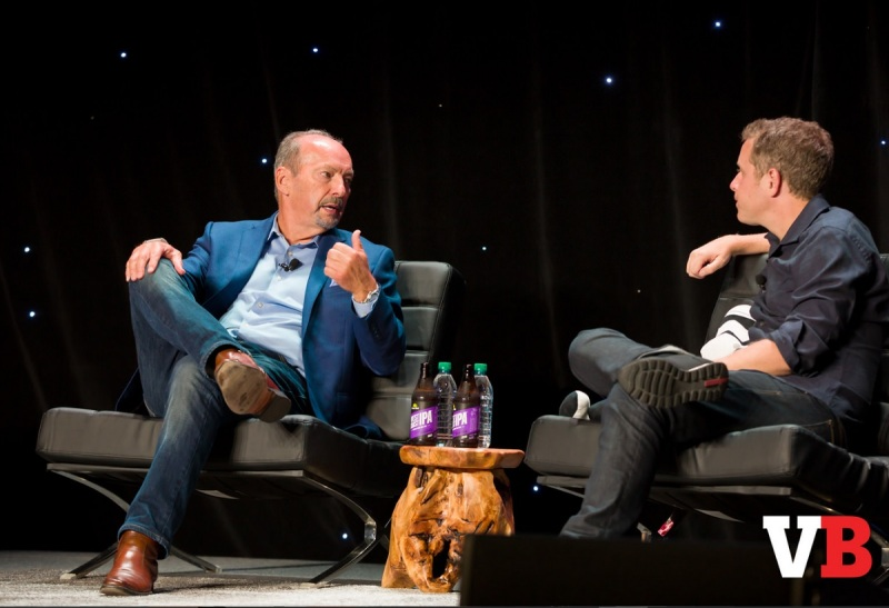 Peter Moore of EA with Geoff Keighley of the Game Awards at GamesBeat 2016.