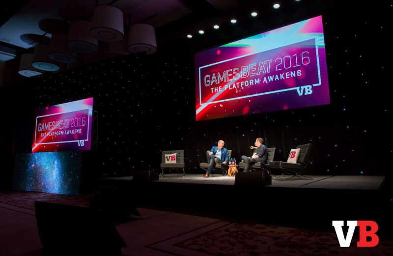 Peter Moore and Geoff Keighley on the big stage at GamesBeat 2016.