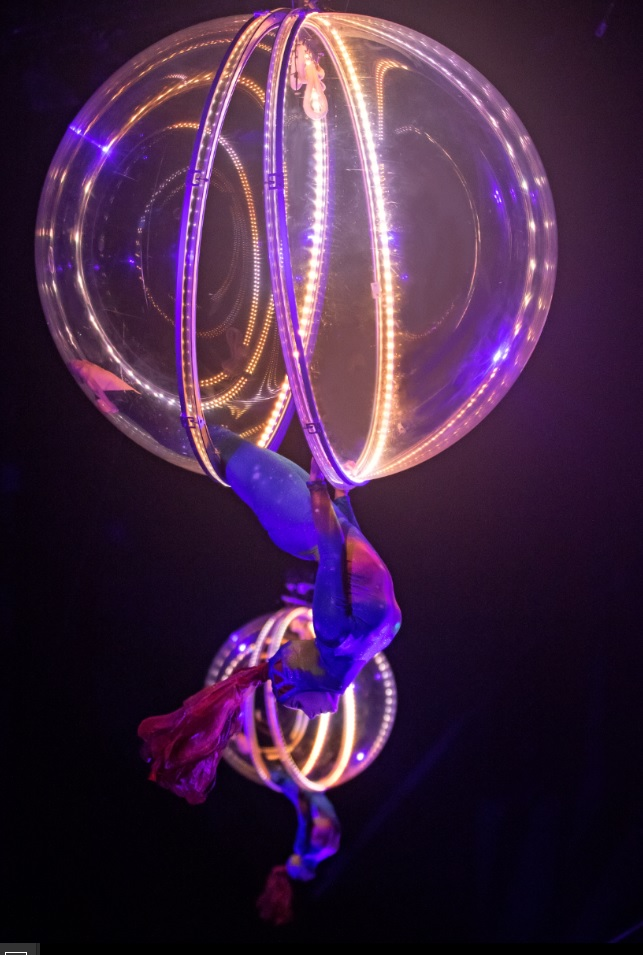 Hanging from a sphere at Ringling Bros.